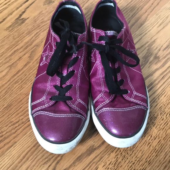 d8ed6cb4433c Fuschia Converse One Stars Sparkly Sneakers Shoes